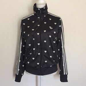 Adidas Black Track Jacket With Hearts L